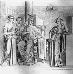 """Die drei Weltteile Roman wall fresco. """"The Three Continents"""".  (f. t. l. Asia, Europa, Africa). From: Pompeii, House of Meleager. Engraving, c. 1830, by P.Amendola, after a drawing by V. Mollame, based on a wall fresco from the National Archeological Museum Naples."""