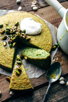 Easy Pistachio Cake Recipe From Scratch with warm pistachio orange syrup