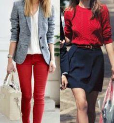 Casual. Pantalón rojo.