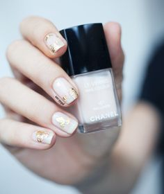 Chanel Ballerina with gold leaf
