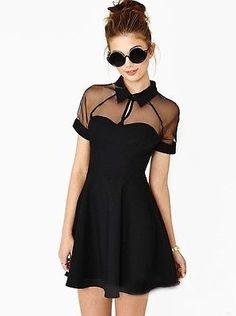 Women's Chiffon Black Retro Punk Rock Spring/Summer Party Dress. So pretty.
