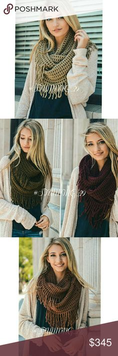 """🆕MOCHA LATTICE INFINITY SCARF ADORABLE! ON TREND ! GORGEOUS CHUNKY  MOCHA LATTICE TASSEL INFINITY SCARF.  SO WARM & COZY. & VERSATILE. EASY COLOR MATCH W/ ALL YOUR NEUTRAL COLORS.  THESE MEASURE 28 """" × 14 """". **ALSO AVAILABLE IN A CHOCOLATE BROWN COLOR ** IN A SEPARATE LISTING IN MY CLOSET. PLEASE REFER TO THE COLOR & CHART WITH ALL THE SCARVES.  THESE SHOULD BE ARRIVING BY DEC.14. MORE INFO AVAILABLE Stunning_29  Accessories Scarves & Wraps"""