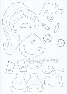 Bonequinha rabo de cavalo Crafts To Sell, Diy And Crafts, Crafts For Kids, Arts And Crafts, Paper Piecing Patterns, Felt Patterns, Felt Dolls, Paper Dolls, Foam Crafts