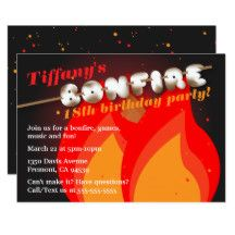 "This fun and creative marshmallow bonfire invitation features the design of the words ""bonfire"" that has letters that look like marshmallows. It's great for birthday parties or other events and can be used for any age. The design also has a bonfire with red and orange flames against a dark night sky."