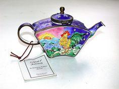Wonderful 2001 KELVIN CHEN Miniature Enameled Teapot  Rooster