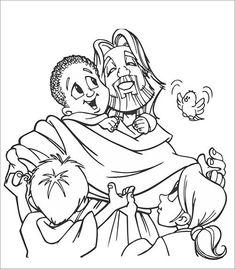 szenen aus der bibel: kostenlose malvorlage: jesus spricht mit kindern zum ausmalen | materiaal