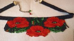 poppy flowers beadwork necklace fringe necklace by fairyseedbeads Beaded Necklace Patterns, Beaded Choker Necklace, Fringe Necklace, Collar Necklace, Beading Patterns, Beading Ideas, Loom Beading, Bead Crafts, Seed Beads
