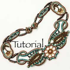 Seed Bead Lace Necklace Desert Rose  Advanced by JewelryTales, $15.00.  Love this!