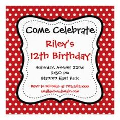 Red and White Polka Dot Birthday Party Invitations  #kids #birthday #zazzle #birthdayinvitations