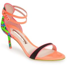 SOPHIA WEBSTER 'Nicole' Camo Sandal (Women) ($180) ❤ liked on Polyvore featuring shoes, sandals, leather high heel sandal, leather shoes, neon high heel sandals, leather ankle strap sandals and neon sandals