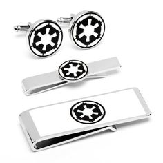 """Officially licensed by Lucasfilm Star Wars Imperial Empire Symbol 3-Piece Gift Set Cuff Links Tie Bar Money Clip Cufflinks Inc. $119.95. Free Gift Wrapping with each order!. Approximately 3/4"""" x 1/2"""". Comes packaged in a Limited Edition Collectors Storage Box!"""
