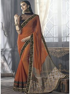 Copper Georgette Saree With Front Neck Blouse Designer-OL-014