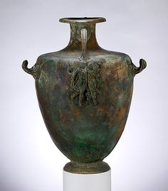Bronze hydria (water jar). Period: Classical. Date: mid-4th century B.C. Culture: Greek. Medium: Bronze