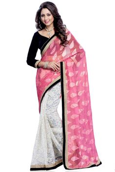 Pink and white brasso saree with black velvet blouse with price $92.20  .Embellished with stone.Saree comes with v neck blouse.It is perfect for casual wear, festival wear, party wear and wedding wear.Andaaz Fashion is the most popular designer wear online ethnic shop brands. http://www.andaazfashion.us/womens/sarees/view/new-arrival-saree
