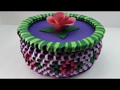 How to make a 3D Origami box with flowers DIY (tutorial + free pattern) - YouTube