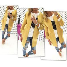 Manteau uni poches col rond manches longues décontractée laine jaune - Manteaux - Hauts