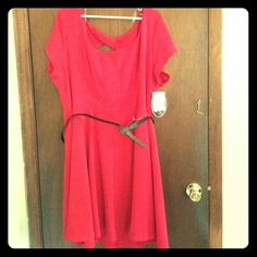Paperdoll Red Retro Skater Dress Never worn! Still has tags! Very cute retro look topped off with a skinny black belt with a bow. 82% polyester, 13% rayon, 5% spandex. 100% polyester lining. Paperdoll Dresses