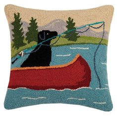 Lab Fishing Pole in Canoe Embroidered Pillow Felt Pillow, Cotton Pillow, Wool Pillows, Throw Pillows, Felted Wool Crafts, Tapestry Fabric, Penny Rugs, Needle Felting, Wool Felting