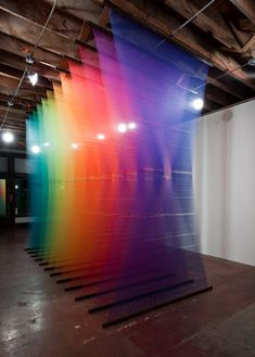 Amazing installations by Gabriel Dawe. Thread, nails, wood.