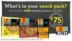 """PIN to WIN your favorite KIND snacks! --- What to do:  1. Follow Vitacost & @KINDsnacks on Pinterest. 2. Create a new board titled, """"My Snack Pack"""" and fill it with your favorite snacks. 3.Repin at least 5 KIND products, including the new Healthy Grains Peanut Butter & Berry Bar 4. Use #KINDAWESOME in every pin! 5. Post the URL of your board in the comments on this pin. Enter by 8/31/15 at 11:59 pm ET. 6. One randomly selected winner will receive a KIND Healthy Grains Snack Pack ($75…"""