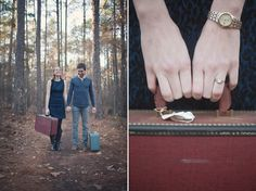 Kristin and Joe. Pack your bags for…. Engagement Ideas, Engagement Session, Engagement Photos, Pack Your Bags, Walk In The Woods, Suitcases, Engagement Photography, Destination Wedding, Photoshoot