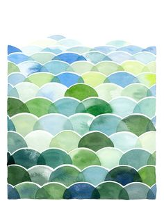 Handmade Watercolor Archival Print - Blue and Green Field and Sky