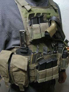 MBB (Miller Bros. Blades) knife & sheath mounted onto tactical chest rig