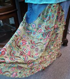 Refashioned Denim Jeans and Print Ruffled Skirt  by HooplaSuZQ, $30.00