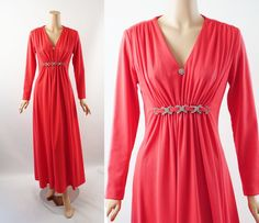 Vintage 1970s Rhinestone Formal Party Dress Coral Empire Waist Full Length B40 by alleycatsvintage on Etsy