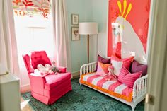 Toddler Room Ideas: A pink little girl's room complete with a Jenny Lind daybed, vintage chair, and the perfect kid's artwork!