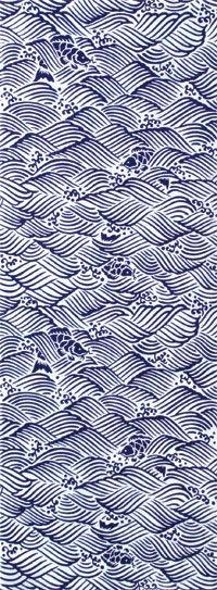 A stencil printed bath cloth,