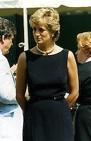 Diana Spencer (Diana, Princess of Wales).Visits Moscow, Russia..June 19th, 1995.half length black sleeveless dress belt pearl necklace navy blue.CAP/PER/BK.©BK/PersonaStars/CapitalPictures