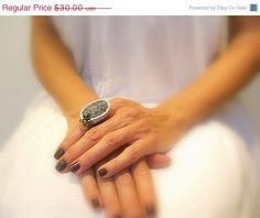 SALE 40% OFF Crochet Ring Charcoal Gray Agate Stone by JustColor