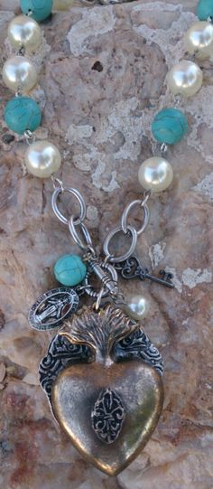 Sacred Heart Turquoise Charm Necklace  etsy.com/shop/secretstashboutique