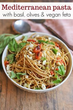 This noodle dish lets the fresh flavors of tomatoes, olive tapenade, basil, and almond feta really shine. Make the olive tapenade and vegan feta ahead of time, and this becomes a quick weeknight meal. Dairy Free Recipes, Vegan Recipes Easy, Pasta Recipes, Dinner Recipes, Roasted Tomato Pasta, Roasted Tomatoes, Clean Eating Recipes, Healthy Eating, Vegan Feta Cheese
