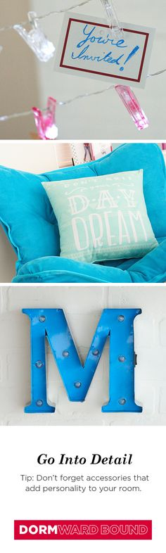 When it comes to decorating your dorm room, it's all about being yourself. Make it your own with unique details like strands of clips for cards and photos, quote pillows that express your personality or marquee letter lights. Find everything you need for heading to college at Kohl's.