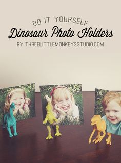 Perfect for Dad's desk for Father's Day! | DIY Dinosaur Photo Holders by ThreeLittleMonkeysStudio.com