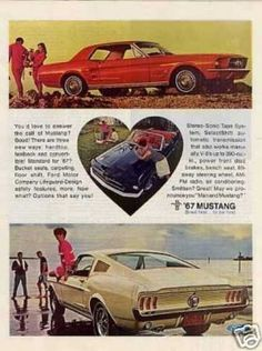 Ford Mustang Car (1967)  My first car was a '67 Mustang Red.  When we drove out of the dealership, the tail pipe fell off!  lol  The embarrassed dealership, of course, fixed it right away and also gave us some freebies.