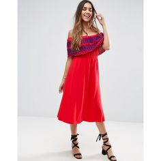 ASOS Off Shoulder Midi Sundress with Broderie Frill (6680 ALL) ❤ liked on Polyvore featuring dresses, red, red ruffle dress, sun dresses, red off the shoulder dress, red sun dress and red midi dress
