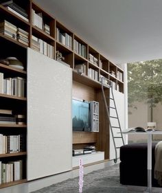 Wall Units Shelving Systems - The Finishing Touch to Your Interiors. Like the sliding door and its function of hiding either books of Tv behind it. Wall Shelving Units, Shelving Systems, Wall Units, Shelves, Tv Units, Living Room Storage, Living Room Tv, Home And Living, Wall Storage
