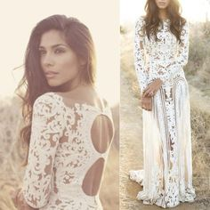 Buy New Arrival White Appliques Bohemian Wedding Dress with Long Sleeves Wedding Dresses under $199.99 only in Dressywomen.
