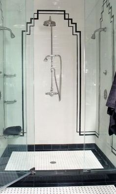 Art Deco-style shower in black-and-white. Photographed by Robin Muto.