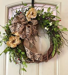 all seasons wreath, year round wreath, door decor, wreath for christmas, wreath for fall, Autumn wreath, year round decor, wreath for front door, burlap bow If you're are needing a wreath that works all year round for your door, this one is perfect! This is an any season wreath!