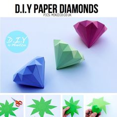 fabulous pictures: DIY paper diamonds. Cool! Maybr for kids 8 and up