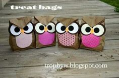 Owl Treat Bags - made from brown paper sacks. Perfect for my owl theme! Owl Treat Bags, Owl Bags, Owl Treats, Owl Snacks, Paper Sack, Paper Crafts, Diy Crafts, Baby Owls, Brown Paper