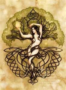 ... celtic knot, tree of life, fairies, dryad, tree, woman, symbolic,Art
