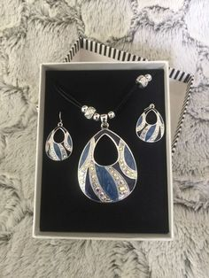Mixit Blue & Silver Necklace Pendant  & Earrings fashion Jewelry Set Jcpenney  #Mixit