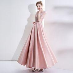 848e3379dac07 カラードレス パーティードレス 結婚式 長袖 ピンク 演奏会 ロング 安い イブニングドレス 二次会 花嫁