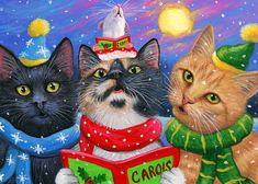 ACEO original cat mouse Christmas caroling winter snow painting art | eBay