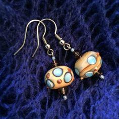 Spotted Lampwork Earrings Steampunk Earrings by EverLeeDesigning